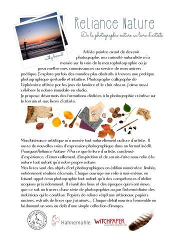 reliance nature exposition livres d'artiste